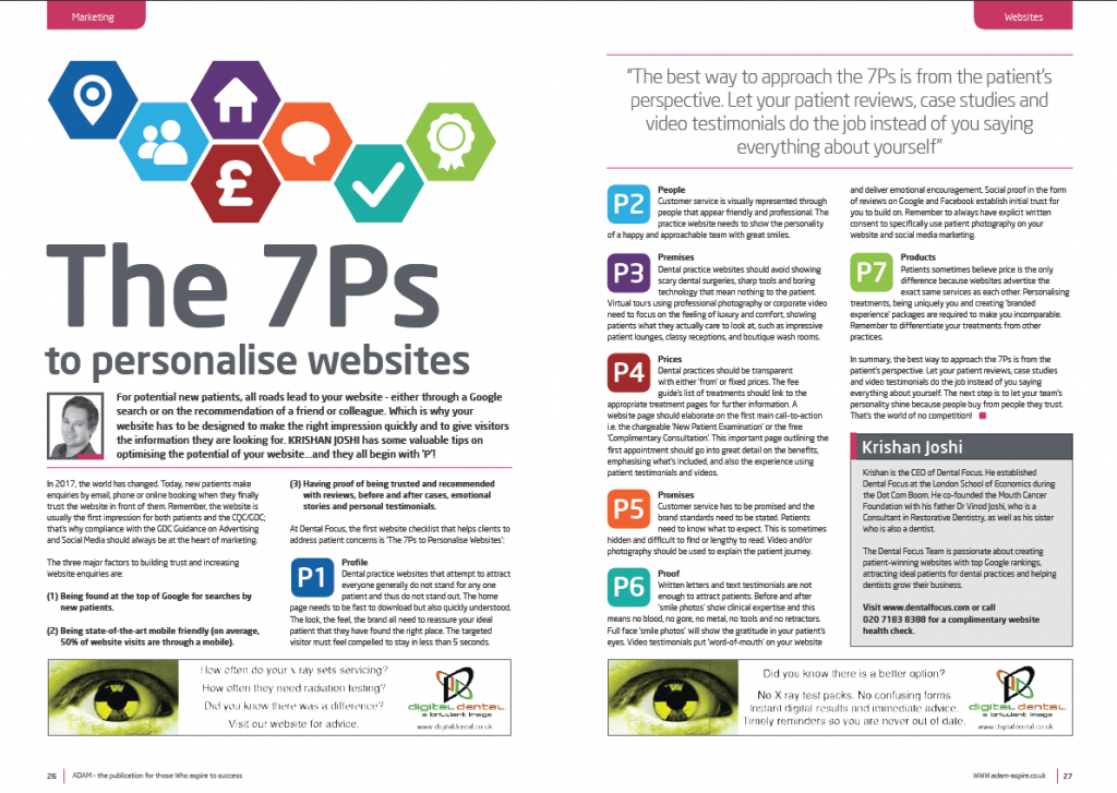 the 7Ps to personalise websites